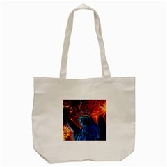 Statue Of Liberty Fireworks At Night United States Of America Tote Bag (cream)
