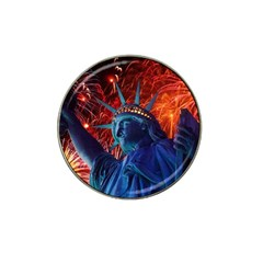 Statue Of Liberty Fireworks At Night United States Of America Hat Clip Ball Marker