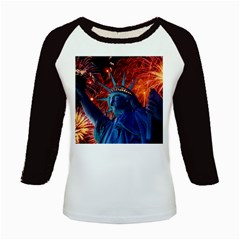 Statue Of Liberty Fireworks At Night United States Of America Kids Baseball Jerseys
