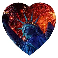 Statue Of Liberty Fireworks At Night United States Of America Jigsaw Puzzle (heart)