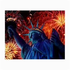 Statue Of Liberty Fireworks At Night United States Of America Small Glasses Cloth