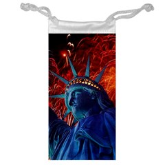 Statue Of Liberty Fireworks At Night United States Of America Jewelry Bag