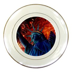 Statue Of Liberty Fireworks At Night United States Of America Porcelain Plates