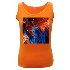 Statue Of Liberty Fireworks At Night United States Of America Women s Dark Tank Top