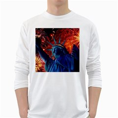 Statue Of Liberty Fireworks At Night United States Of America White Long Sleeve T Shirts