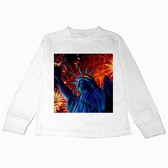 Statue Of Liberty Fireworks At Night United States Of America Kids Long Sleeve T Shirts