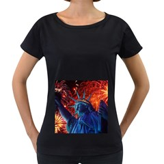 Statue Of Liberty Fireworks At Night United States Of America Women s Loose Fit T Shirt (black)