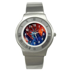 Statue Of Liberty Fireworks At Night United States Of America Stainless Steel Watch