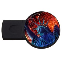 Statue Of Liberty Fireworks At Night United States Of America Usb Flash Drive Round (4 Gb)