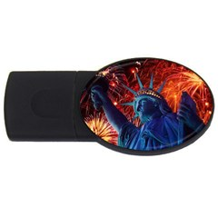 Statue Of Liberty Fireworks At Night United States Of America Usb Flash Drive Oval (4 Gb)