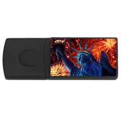 Statue Of Liberty Fireworks At Night United States Of America Usb Flash Drive Rectangular (4 Gb)