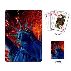 Statue Of Liberty Fireworks At Night United States Of America Playing Card