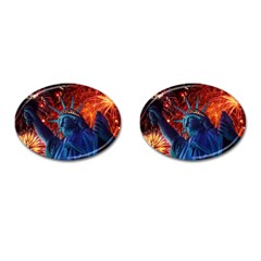 Statue Of Liberty Fireworks At Night United States Of America Cufflinks (oval)