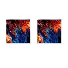 Statue Of Liberty Fireworks At Night United States Of America Cufflinks (square)
