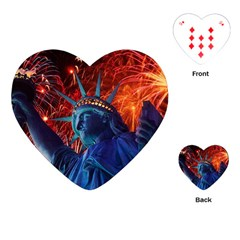 Statue Of Liberty Fireworks At Night United States Of America Playing Cards (heart)