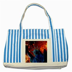 Statue Of Liberty Fireworks At Night United States Of America Striped Blue Tote Bag