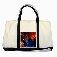 Statue Of Liberty Fireworks At Night United States Of America Two Tone Tote Bag