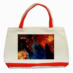 Statue Of Liberty Fireworks At Night United States Of America Classic Tote Bag (red)