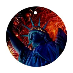 Statue Of Liberty Fireworks At Night United States Of America Round Ornament (two Sides)