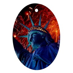 Statue Of Liberty Fireworks At Night United States Of America Oval Ornament (two Sides)