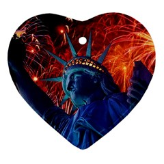 Statue Of Liberty Fireworks At Night United States Of America Heart Ornament (two Sides)