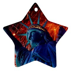 Statue Of Liberty Fireworks At Night United States Of America Star Ornament (two Sides)
