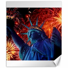 Statue Of Liberty Fireworks At Night United States Of America Canvas 8  X 10