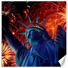 Statue Of Liberty Fireworks At Night United States Of America Canvas 16  X 16