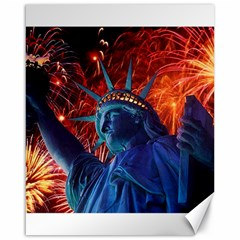 Statue Of Liberty Fireworks At Night United States Of America Canvas 16  X 20