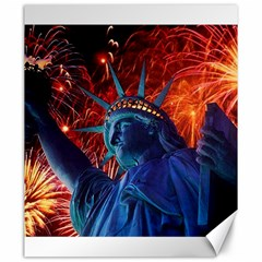 Statue Of Liberty Fireworks At Night United States Of America Canvas 20  X 24
