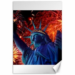 Statue Of Liberty Fireworks At Night United States Of America Canvas 20  X 30