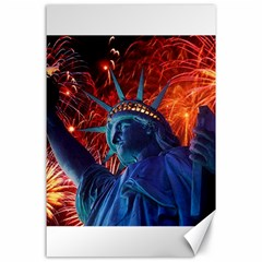Statue Of Liberty Fireworks At Night United States Of America Canvas 24  X 36