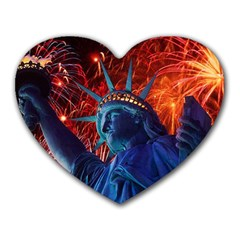 Statue Of Liberty Fireworks At Night United States Of America Heart Mousepads