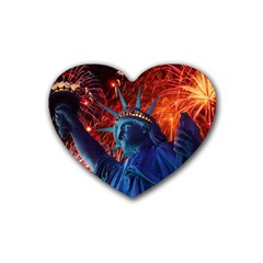Statue Of Liberty Fireworks At Night United States Of America Rubber Coaster (heart)