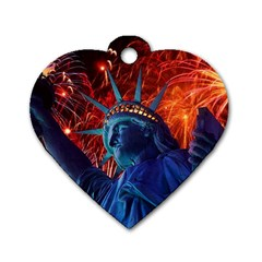 Statue Of Liberty Fireworks At Night United States Of America Dog Tag Heart (two Sides)
