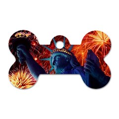 Statue Of Liberty Fireworks At Night United States Of America Dog Tag Bone (one Side)