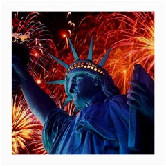 Statue Of Liberty Fireworks At Night United States Of America Medium Glasses Cloth
