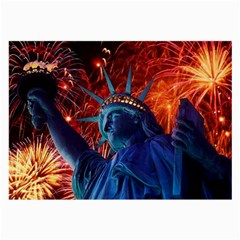 Statue Of Liberty Fireworks At Night United States Of America Large Glasses Cloth