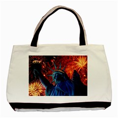 Statue Of Liberty Fireworks At Night United States Of America Basic Tote Bag (two Sides)