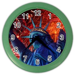 Statue Of Liberty Fireworks At Night United States Of America Color Wall Clocks