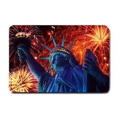 Statue Of Liberty Fireworks At Night United States Of America Small Doormat