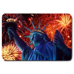 Statue Of Liberty Fireworks At Night United States Of America Large Doormat