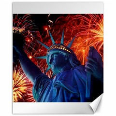 Statue Of Liberty Fireworks At Night United States Of America Canvas 11  X 14