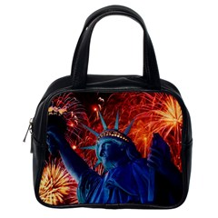 Statue Of Liberty Fireworks At Night United States Of America Classic Handbags (one Side)