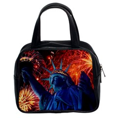 Statue Of Liberty Fireworks At Night United States Of America Classic Handbags (2 Sides)