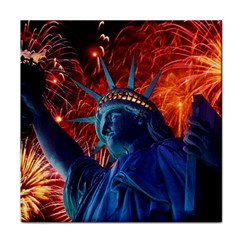Statue Of Liberty Fireworks At Night United States Of America Face Towel