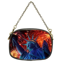 Statue Of Liberty Fireworks At Night United States Of America Chain Purses (two Sides)