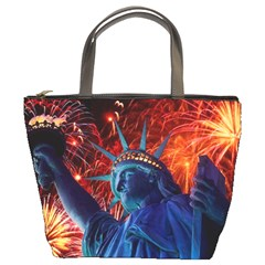 Statue Of Liberty Fireworks At Night United States Of America Bucket Bags