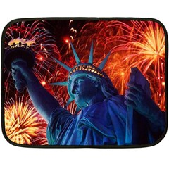 Statue Of Liberty Fireworks At Night United States Of America Double Sided Fleece Blanket (mini)
