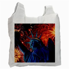 Statue Of Liberty Fireworks At Night United States Of America Recycle Bag (one Side)
